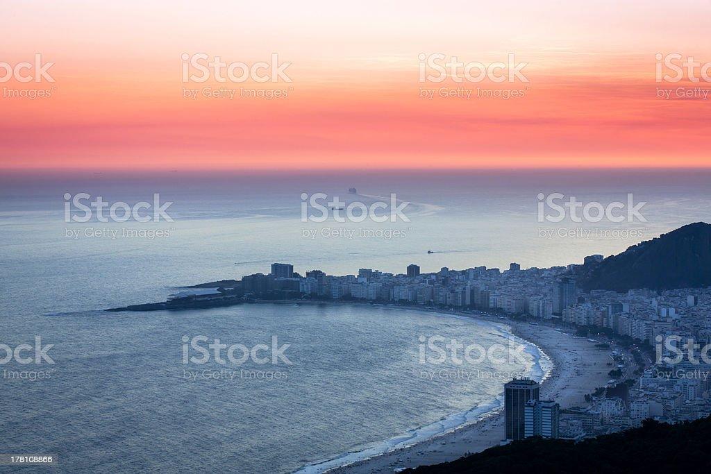 Sunset on Copacabana Beach in Rio de Janeiro royalty-free stock photo