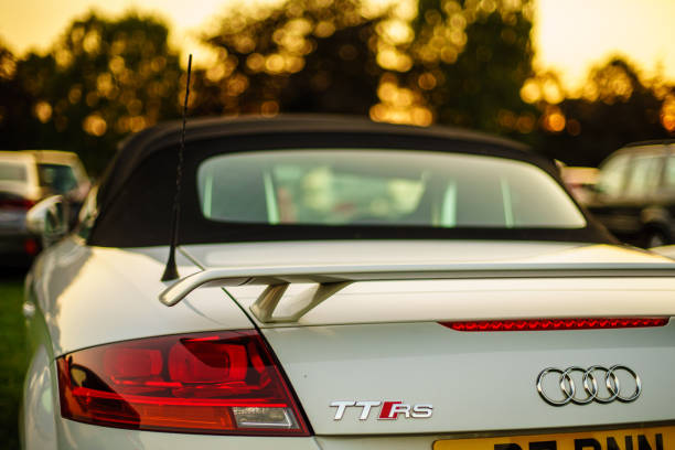 Sunset on Coventry War memorial park with Audi TT RS stock photo