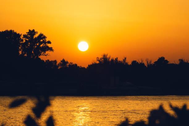 Sunset on Danube river. stock photo