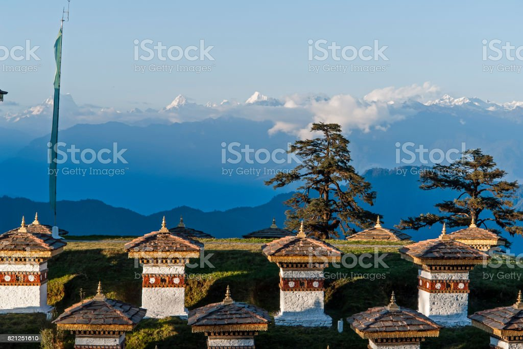 Sunset on Dochula Pass - Bhutan stock photo
