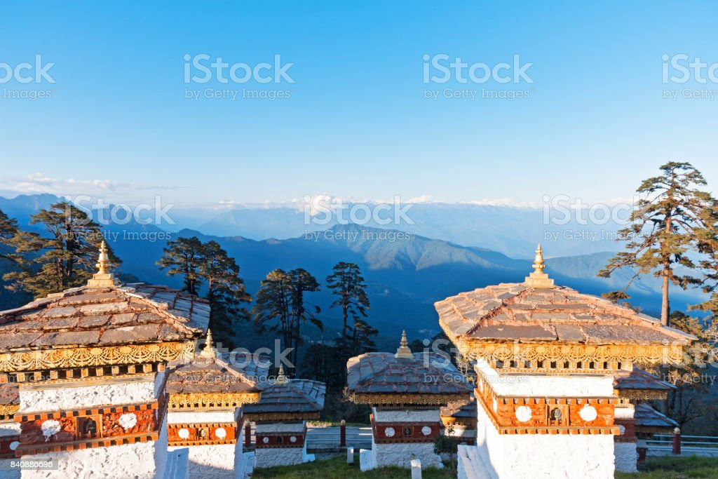 Sunset on Dochula Pass with Himalaya in background - Bhutan stock photo