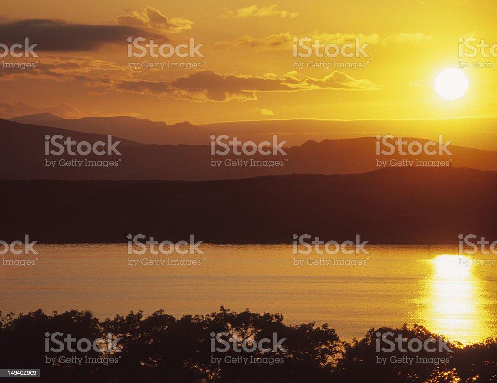 Sunset On Duck Lake stock photo