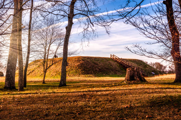 Sunset on Etowah Indian Mounds Historic Site in Cartersville Georgia stock photo