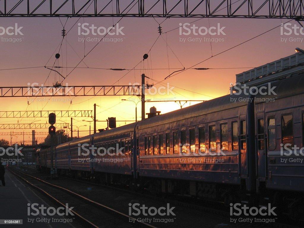 Sunset on Evening Train stock photo