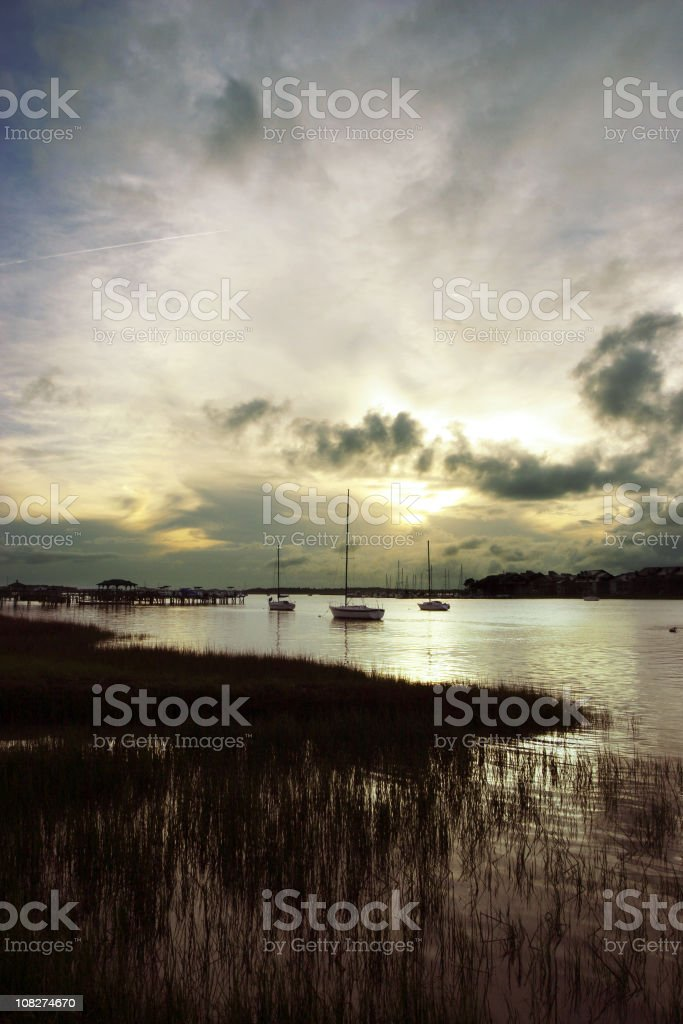 Sunset on Folly River royalty-free stock photo