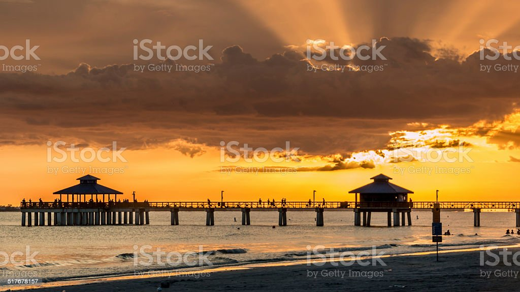 Sunset on Fort Myers Beach stock photo