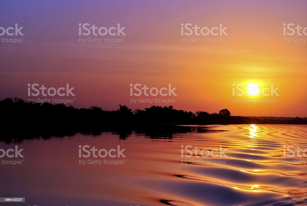 Sunset on Gabmbia River stock photo
