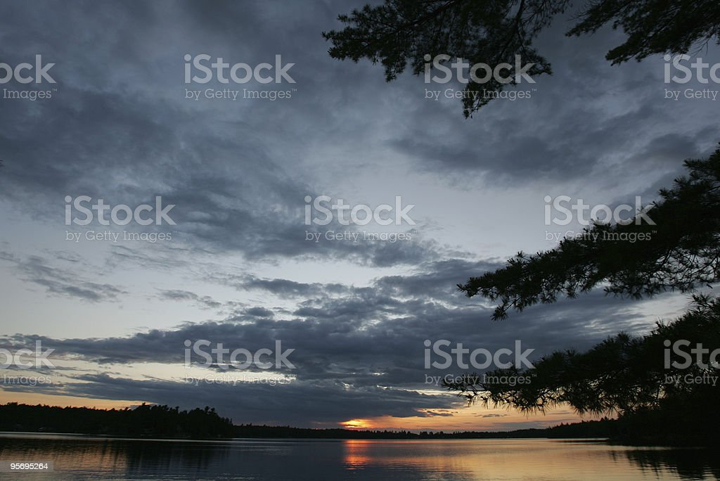 Sunset on Georges Pond, Franklin, Maine stock photo