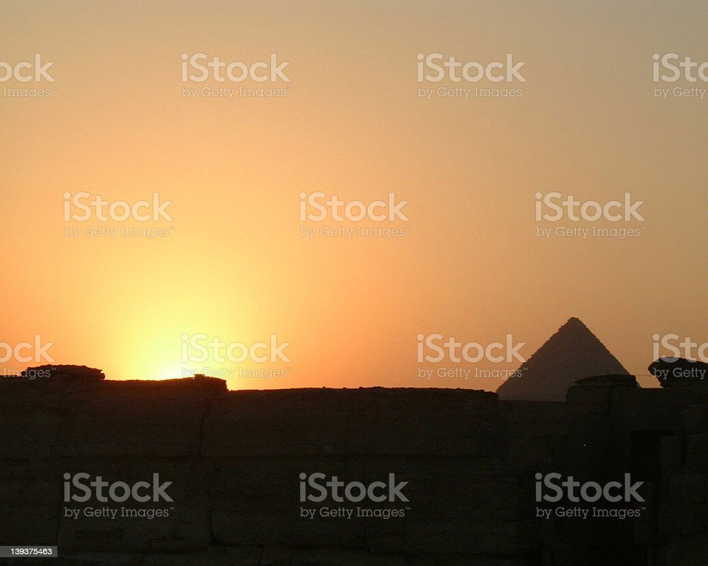 Sunset on Giza Plateau royalty-free stock photo