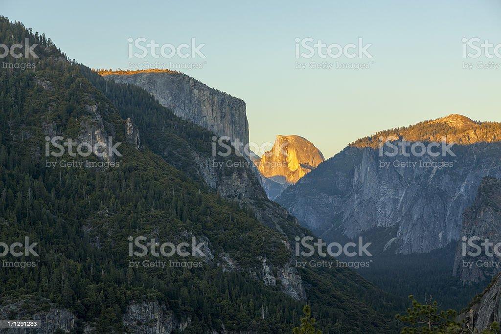 Sunset on Half Dome and El Capitan stock photo