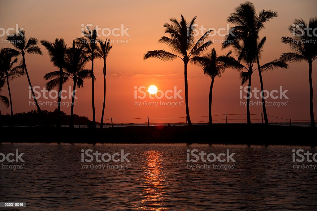 Sunset on Hawaii Big Island stock photo