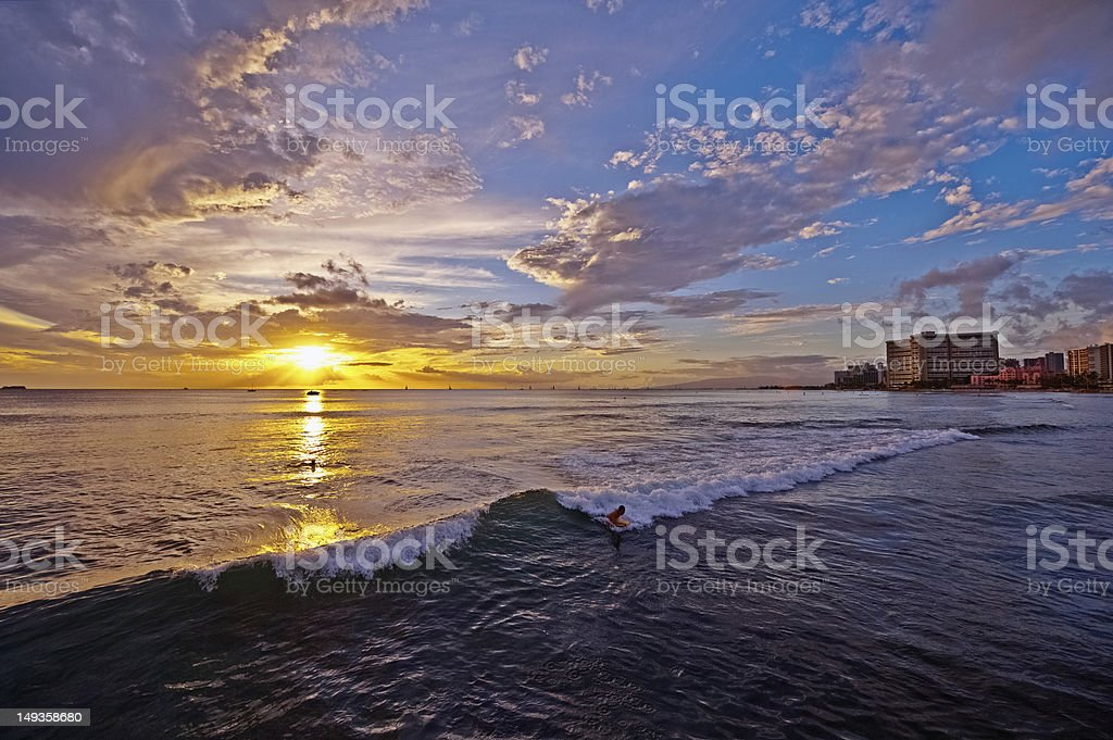 Sunset On Hawaii Waikiki Beach Honolulu Stock Photo