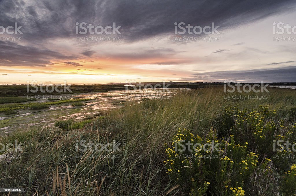 Sunset on Hayling Island stock photo