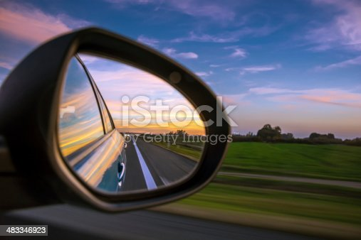 Sunset in rear view mirror on 130km/h