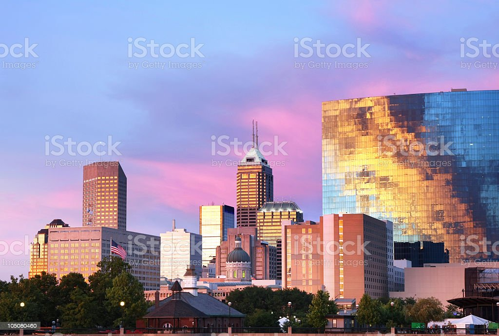 Sunset on Indianapolis, IN stock photo