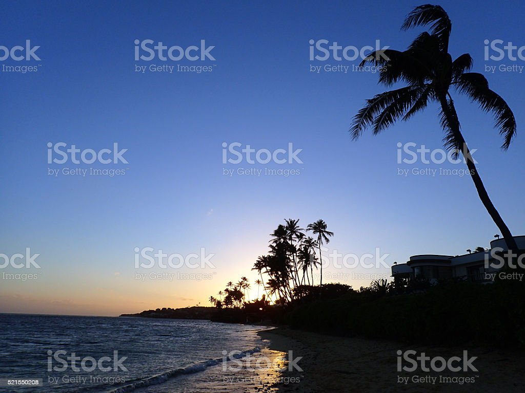 Sunset on Kahala Beach stock photo