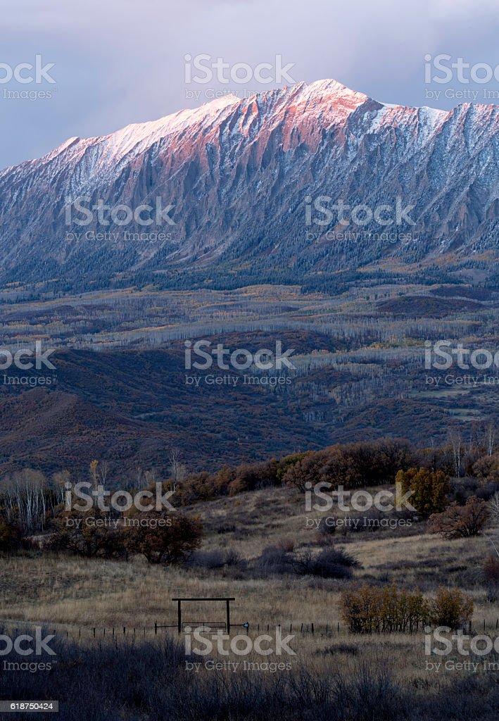 Sunset on Kebler Pass, Colorado stock photo