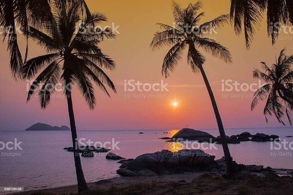 Sunset on Ko Phangan Island. stock photo