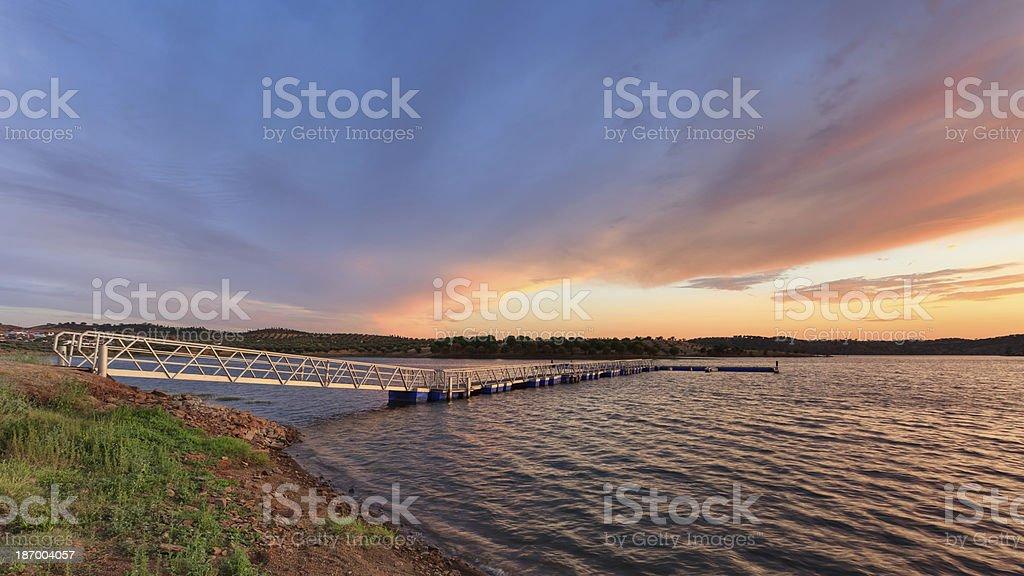 Sunset on Lake Alqueva, Alentejo stok fotoğrafı
