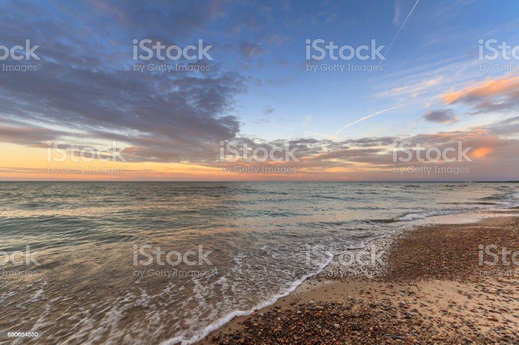 Sunset on Lake Erie stock photo