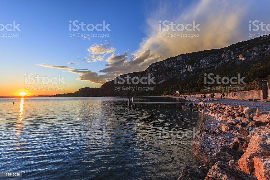 Sunset on Lake Garda, Italy royalty-free stock photo