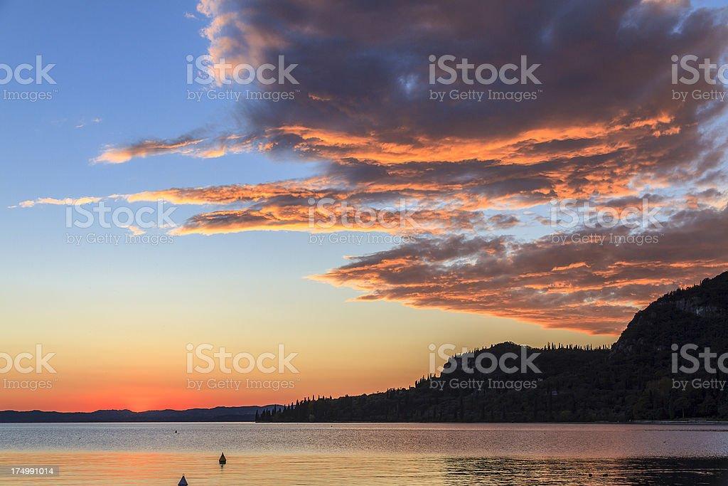 Sunset on Lake Garda, Italy royalty-free stock photo