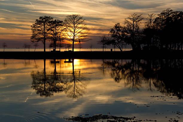 Sunset on Lake Pontchartrain stock photo