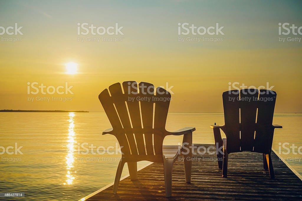 Sunset on Lake Simcoe stock photo