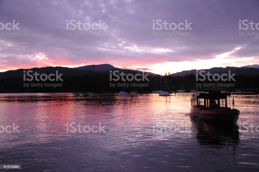 sunset on lake windermere stock photo