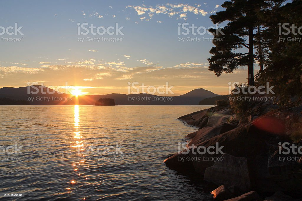 Sunset on lake with pine trees stock photo