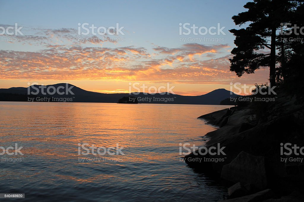 Sunset on lake with pine trees -without sun stock photo
