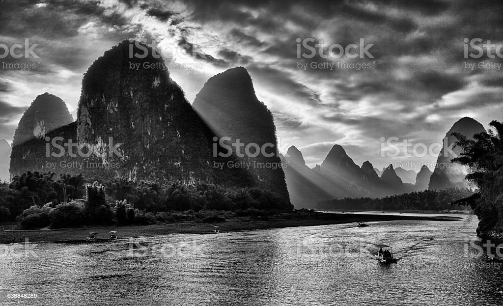 Sunset on Li River, Guilin, China in black and white stock photo
