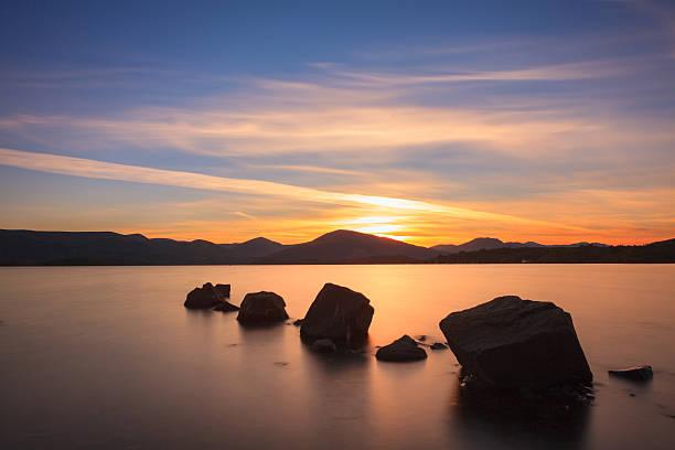Sunset on Loch Lomond stock photo