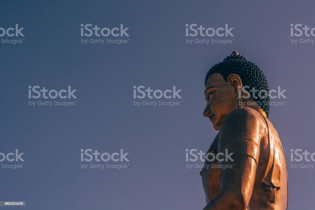 Sunset On Lord Buddha in Bhutan zbiór zdjęć royalty-free