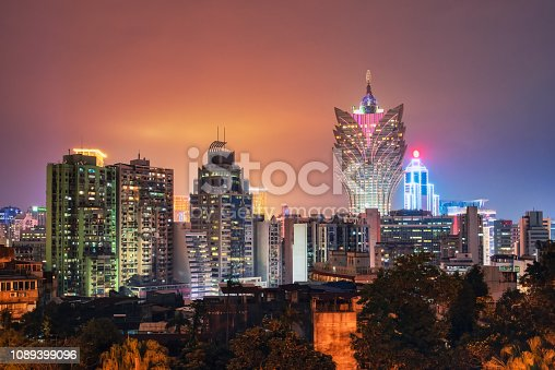 Sunset on Macau city twilight skyline ,China.