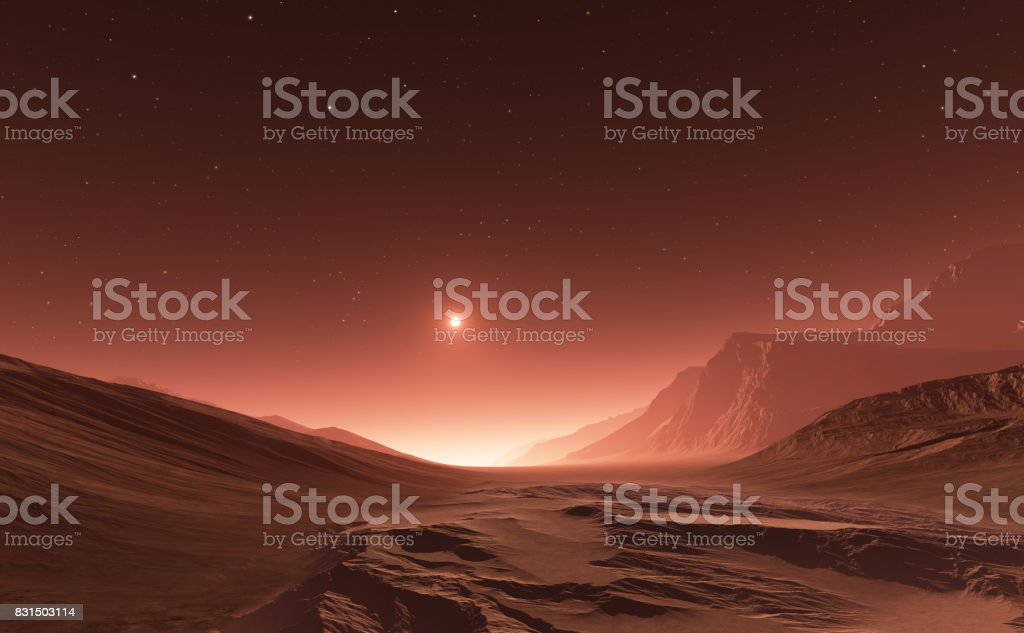 Sunset on Mars. Mars mountains, view from the valley stock photo