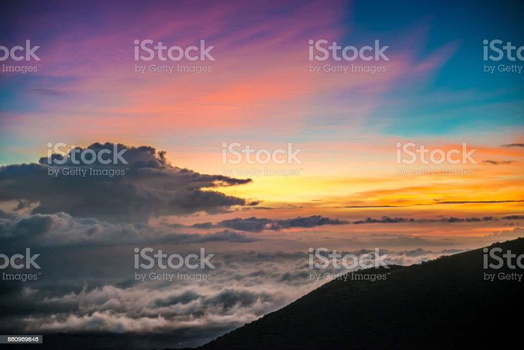 Sunset on Mauna Kea,Hawaii stock photo