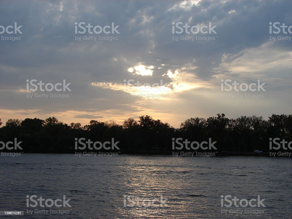 sunset on Mississippi river from east bank,La Crosse,Wisconsin royalty-free stock photo