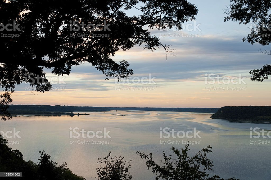 Sunset on Mississippi River in Iowa stock photo