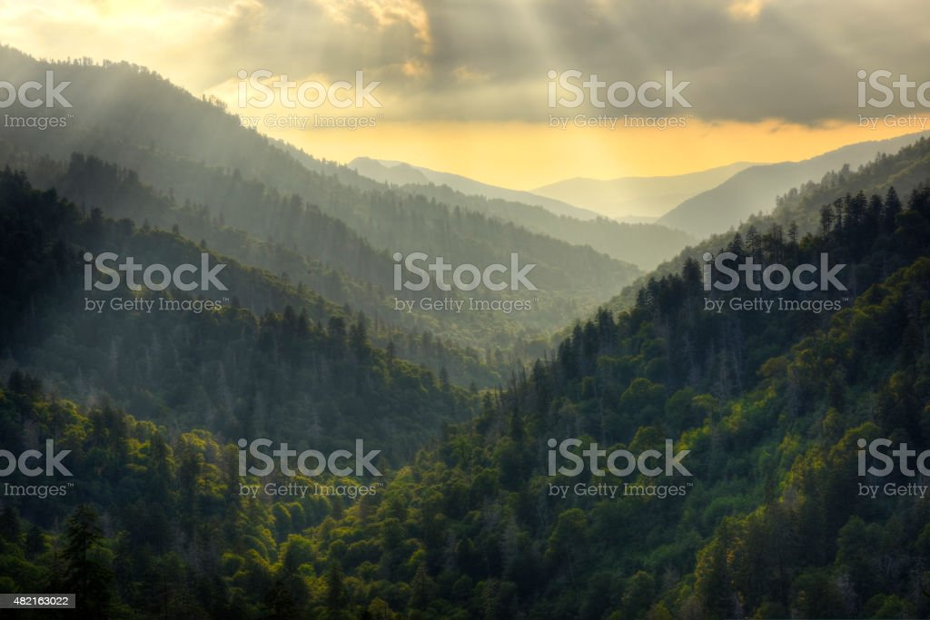Sunset on Morton's Overlook in Great Smoky Mountains National Pa stock photo