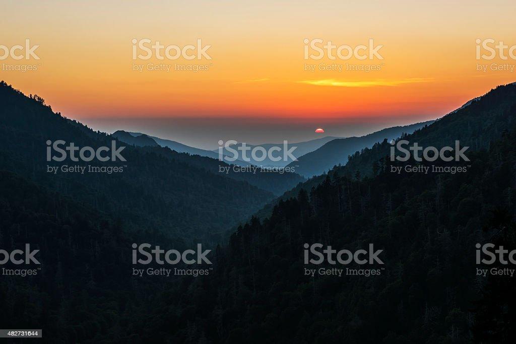 Sunset on Morton's Overlook stock photo