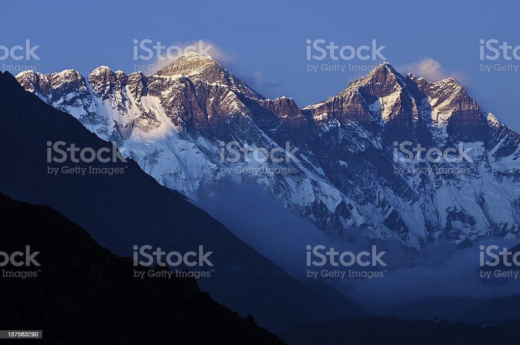 Sunset on Mt Everest high altitude Himalaya mountains Khumbu Nepal royalty-free stock photo