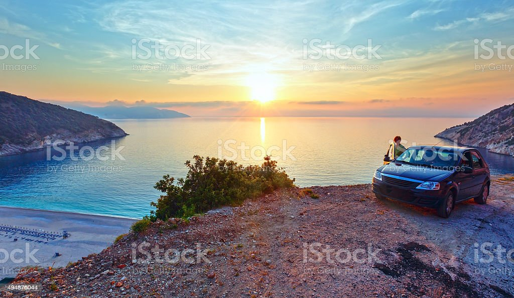 Sunset on Myrtos Beach (Greece,  Kefalonia, Ionian Sea). stock photo