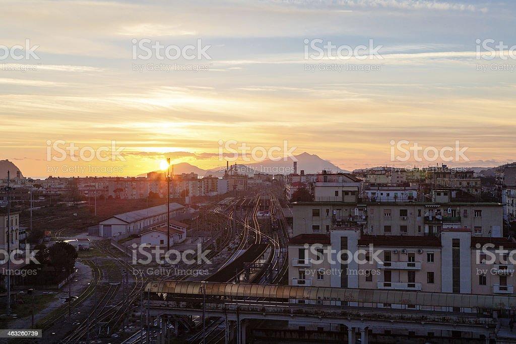 Sunset on Naples, Italy stock photo