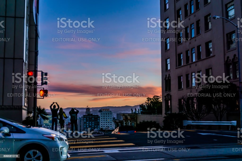 Sunset on Nob Hill street stock photo