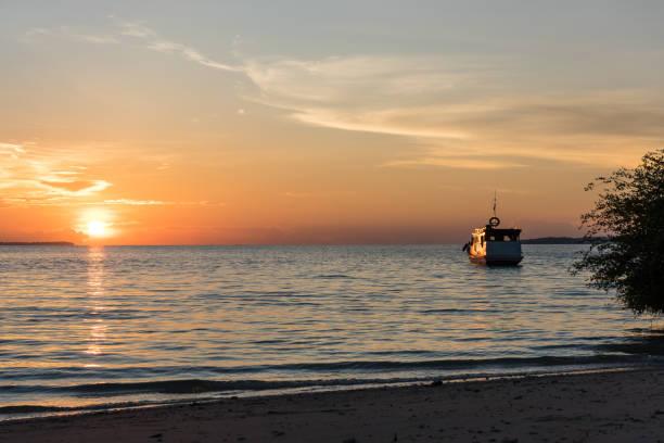 Sunset on Nunukan island, Maratua, Kalimantan, Borneo, Indonesia stock photo