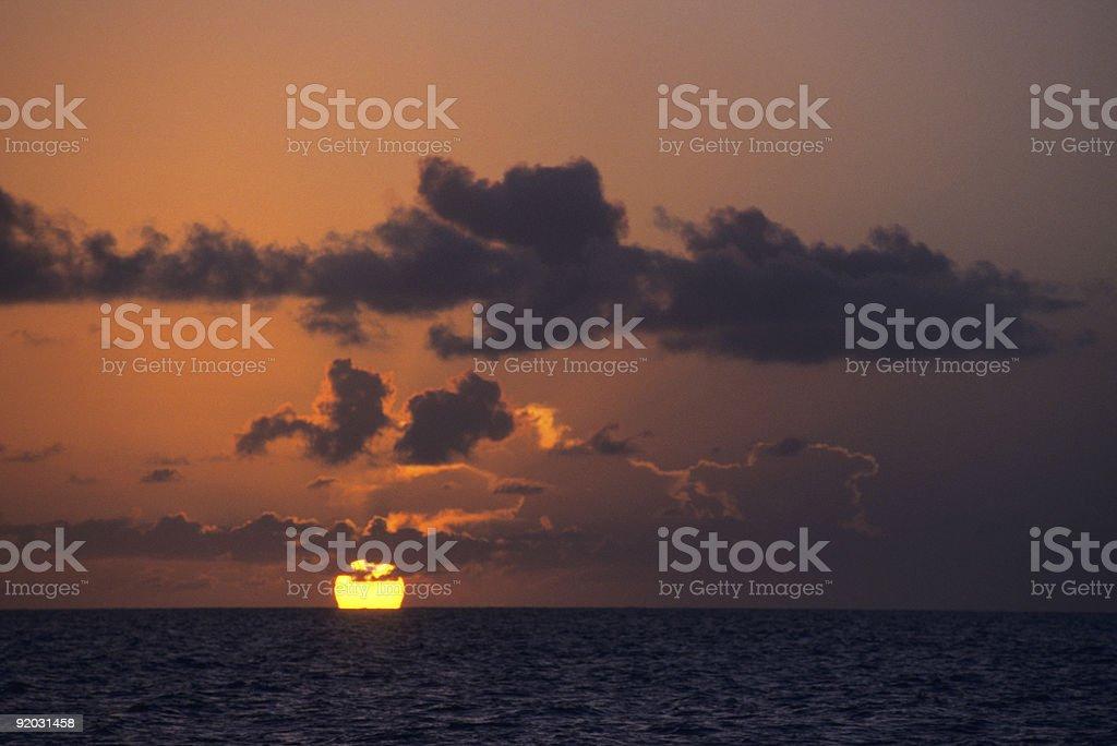 Puesta de sol sobre el mar de Bayahibe, República Dominicana - foto de stock