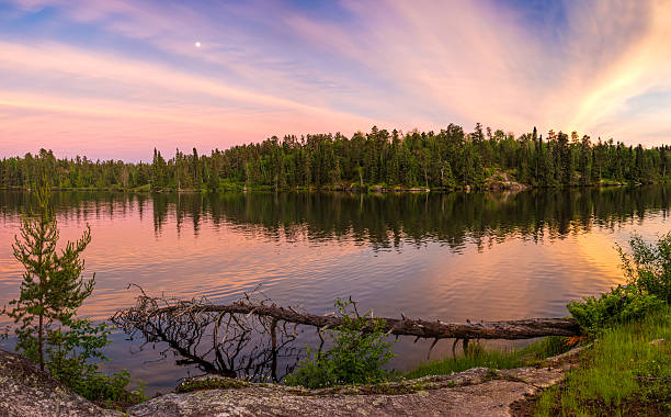 sunset on ontario lake - provincial park stock photos and pictures