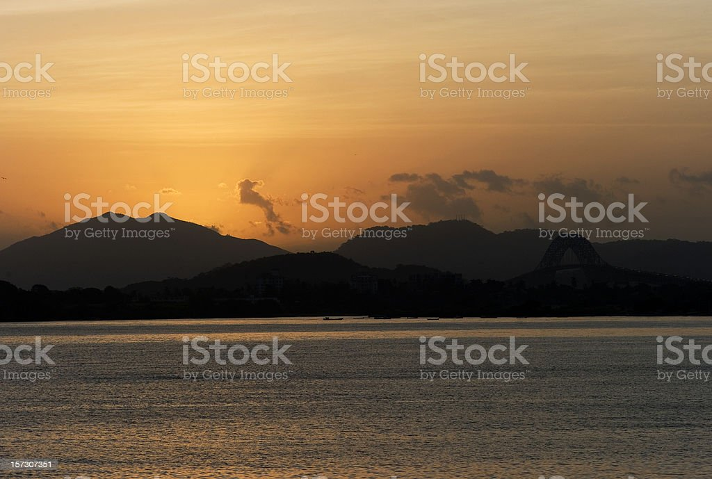 Sunset on Panama Canal royalty-free stock photo