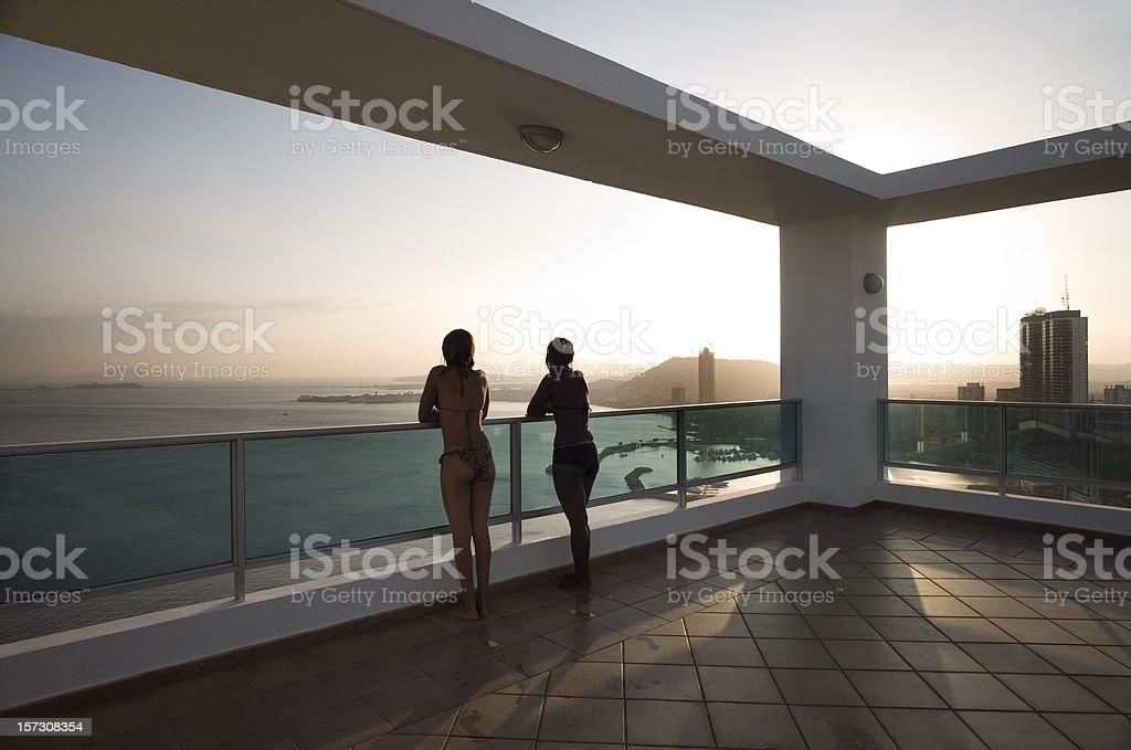Sunset on Panama Deck stock photo